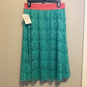 Pink and turquoise Lularoe Lola skirt with lace S
